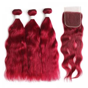 3 bundles of color burg natural wave remy hair weave with 4x4 lace closure free shipping