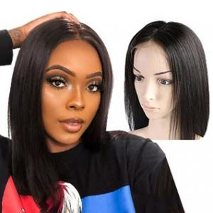 bob straight wigs natural color middle part lace front human hair short wigs for black women