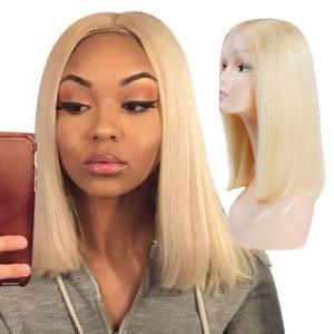 bob straight wigs 613 color middle part lace front human hair short wigs for black women