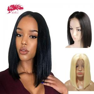 remy hair wholesale bob straight  natural color wigs middle part lace wig human hair lace front human hair short wigs for black women copy