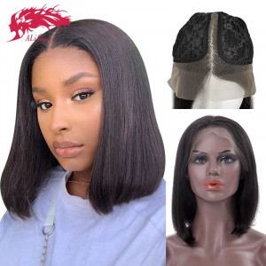 brazilian remy hair part lace wigs 130 density middle part short bob human hair wigs