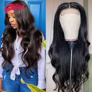 hair 180% density body wave 4x4 lace closure wigs human hair wigs remy brazilian pre plucked hairline