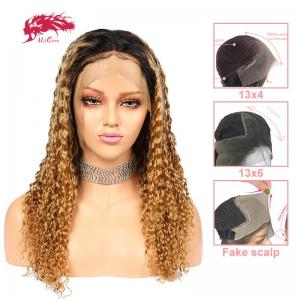 new arrival ombre curly deep wave brazilian lace front remy human hair 370 lace wigs pre plucked wigs with baby hair