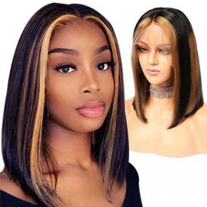 extra pro. ratio ombre 13x6 lace front short bob wig remy human hair straight blonde highlights color