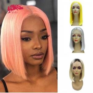 straight bob wigs middle part 180% density brazilian remy hair 13x6 lace front human hair short wigs