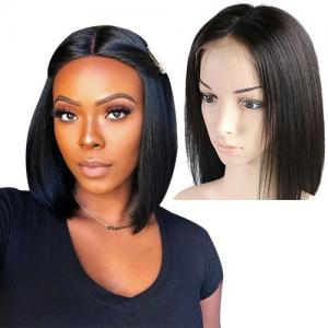 hot selling lace front wigs 150 180 200 density brazilian straight remy hair natural black short bob wigs