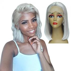 colorful straight bob wigs middle part 180% density brazilian remy hair 13x6 lace front human hair