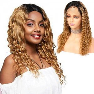 new fashion ombre curly deep wave brazilian lace front remy human hair 370 lace wigs pre plucked wigs with baby hair