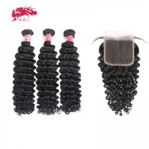 winter special hair 100 percent remy hair 3 pieces deep wave bundles with 4x4 closure