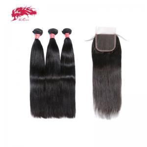 winter clearance 100 percent remy hair 3 bundles straight hair with 4x4 closure