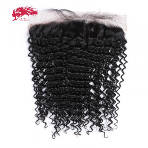 brazilian deep wave 13x4 lace frontal closure ear to ear pre plucked with baby hair remy human hair free part