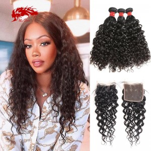 3pcs water wave human hair bundles with closure natural color brazilian remy hair weft with lace closure