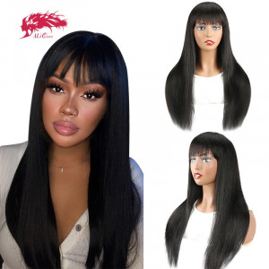 straight human hair remy virgin hair ombre wigs full machine wigs with bang