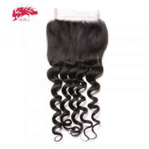 top grade natural wave 4*4 lace closure 100% virgin human hair