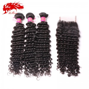 top grade brazilian deep wave 3pcs hair weave bundles plus 1 free part deep wave 4*4 lace closure