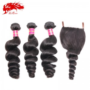 high quality 3pcs brazilian loose wave and one piece free part 4*4 lace closure virgin human hair