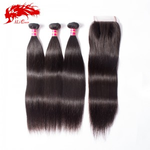 brazilian virgin hair straight hair products 3pcs plus 1piece straight 4*4 lace closure unprocessed human hair weave