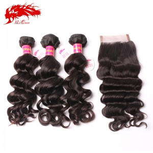 hair products 100% human hair weave unprocessed brazilian natural wave hair extension 4*4 lace closure