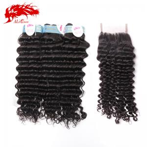 hair products peruvian deep curly bundle 3 pcs virgin hair deep wave curly hair and 4*4 lace closure