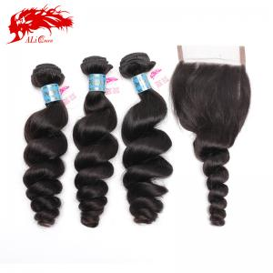 unprocessed peruvian loose wave hair virgin hair weaving 3 pcs plus 1 piece free part 4*4 lace closure