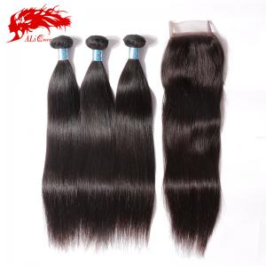 hair products high quality peruvian virgin hair straight hair bundles with 4*4 lace closure