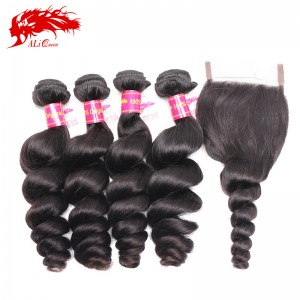 hair unprocessed virgin brazilian loose wave 4 bundles hair extension and 1 piece free part 4*4 lace closure