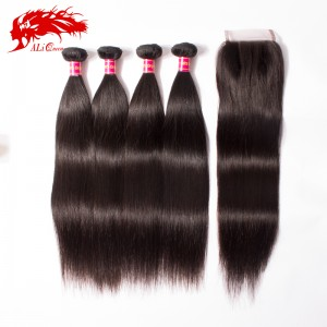 brazilian virgin hair straight 4 bundles human hair weave hair products virgin straight 4*4 lace closure