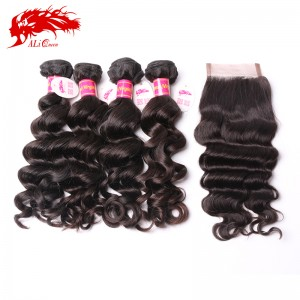 top human hair weave bundles brazilian natural wave and 4*4 lace closure