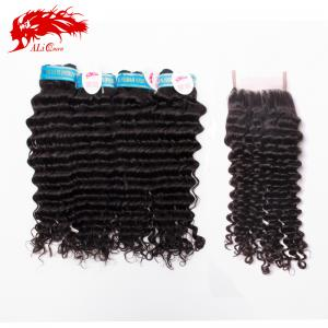 flawless peruvian deep curly hair extension and deep curly 4*4 free part lace closure hair products