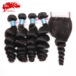 hot sale peruvian loose wave hair extension best hair weave with 4*4 loose wave free part lace closure