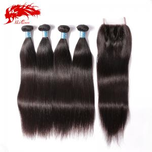 high quality unprocessed human peruvian straight hair weave hair 4*4 lace closure