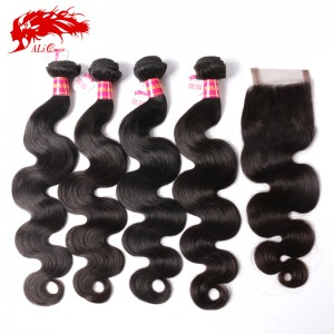 high quality 4pcs brazilian body wave with a body wave 4*4 lace closure virgin human hair