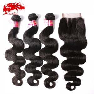 high quality 3pcs brazilian body wave hair with a body wave 4*4 lace closure virgin human hair