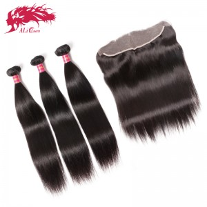 brazilian virgin women straight hair with 13*4 lace frontal 3pcs plus 1piece straight hot sale