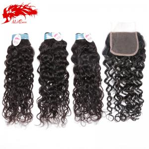 3pcs water wave women virgin water wave hair with a 4*4 free part lace closure best bundles
