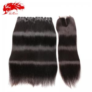 flawless natural black 4pcs straight bundles with 4*4 closure high quality hair extensions wholesale and retail