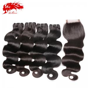 unprocessed 4pcs body wave with one 4*4 lace closure high quality mink hair