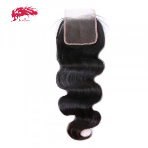 body wave 4*4 lace closures with baby hair remy hair extensions