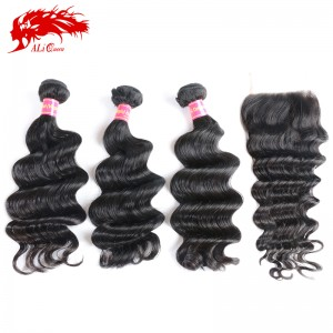 high quality virgin human hair brazilian loose deep wave hair with a body wave 3pcs plus 4*4 lace closure