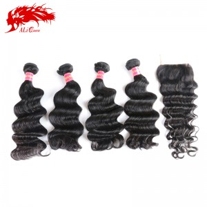 high quality virgin human hair brazilian loose deep wave 4pcs with a body wave plus free part 4*4 lace closure
