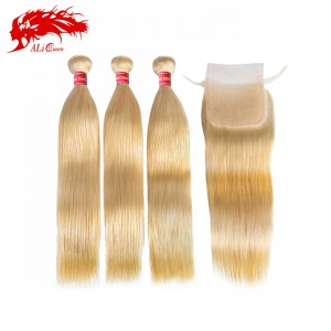 new arrival 3 bundles with 4*4 closure color 613 straight hair cheap blonde virgin human hair to us uk
