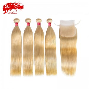 best seller 4 bundles color 613 blonde straight hair with one piece 4*4 closure 100% virgin human hair