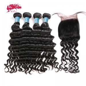 hair product peruvian natural wave hair weft human virgin hair 4 bundles with 4*4 free part lace closure