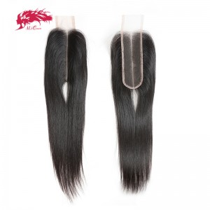 hair 2x6 middle part lace closure brazilian straight hair natural color virgin hair