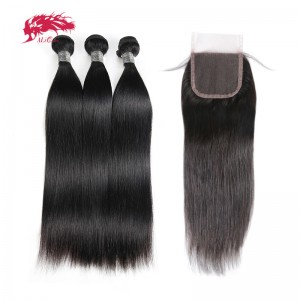 hair peruvian straight human hair 3 bundles with 1 swiss lace closure free part remy hair