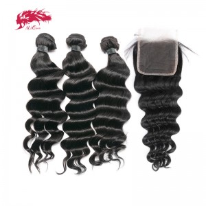 hair peruvian human hair 3 bundles loose deep wave with lace closure remy hair