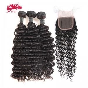hair 100 percent human remy hair 3 bundles deep wave hair with 1 free part lace closure