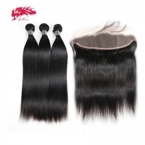 hair peruvian remy hair bundles with lace frontal straight natural color hair bundles with frontal