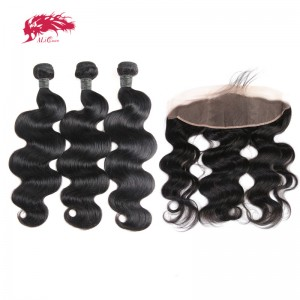 hair peruvian remy hair body wave bundles with lace frontal natural color