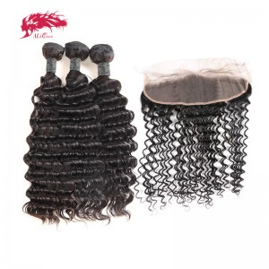 hair products peruvian remy hair 3 bundles deep wave with 1 lace frontal